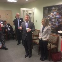 Representative Josh Gottheimer (L) Visits Blue Star Strategies Offices with Karen Tramontano (R).