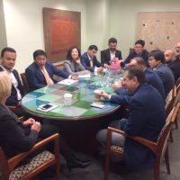 Sally Painter Hosts Rumsfeld Foundation Central Asia Fellows at Blue Star Strategies Offices.