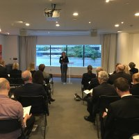 Jesica Lindgren Addresses Swedish-American Chamber of Commerce of Washington D.C. Board of Directors Annual Meeting at the House of Sweden.