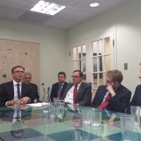 Jeff Gedmin (center back) Hosts Foreign Minister of Estonia Sven Mikser (center) at Blue Star Strategies Offices with Washington Area Young Professionals.