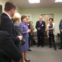 Senator Jeanne Shaheen Visits Blue Star Strategies Offices with Sally Painter (L).